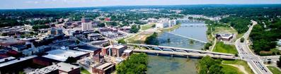 Aerial view of Danville Virginia's River District, and the Dan River.  Enjoy low cost of living, high quality of life.